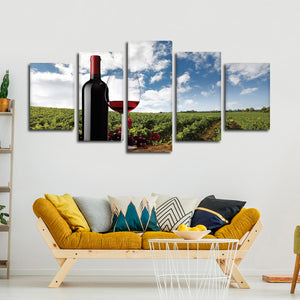 Drink And Enjoy Multi Panel Canvas Wall Art - Winery