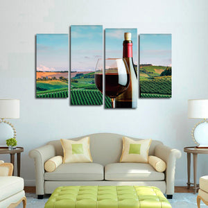 Sipping Wine In Tuscany Multi Panel Canvas Wall Art - Winery
