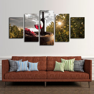 Perfect Drinking Time Multi Panel Canvas Wall Art - Winery