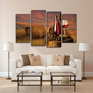 Red Wine At Sunset Multi Panel Canvas Wall Art - Winery