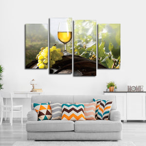 White Wine In The Afternoon Multi Panel Canvas Wall Art - Winery