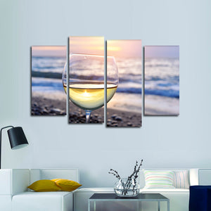 Sip Wine On The Beach Multi Panel Canvas Wall Art - Winery