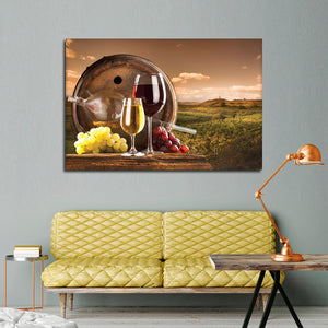 Vineyard In Temecula Multi Panel Canvas Wall Art - Winery
