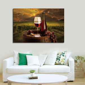 Napa Valley Red Wine Multi Panel Canvas Wall Art - Winery
