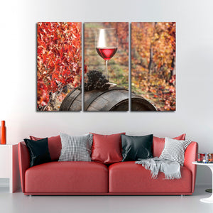 Autumn In Napa County Multi Panel Canvas Wall Art - Winery