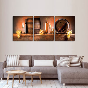 White Wine Barrels Multi Panel Canvas Wall Art - Winery