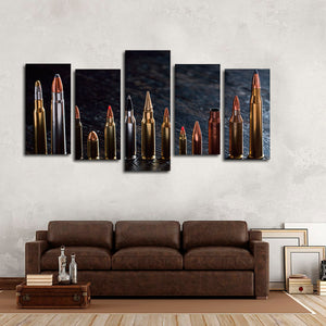 Multiple Ammunition Multi Panel Canvas Wall Art - Army
