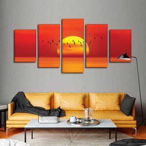 Sunset Soaring Multi Panel Canvas Wall Art - Beach