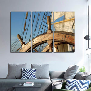 Wooden Ship Wheel Multi Panel Canvas Wall Art - Boat