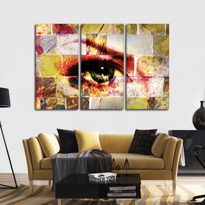 Abstract Gaze Multi Panel Canvas Wall Art - Portrait
