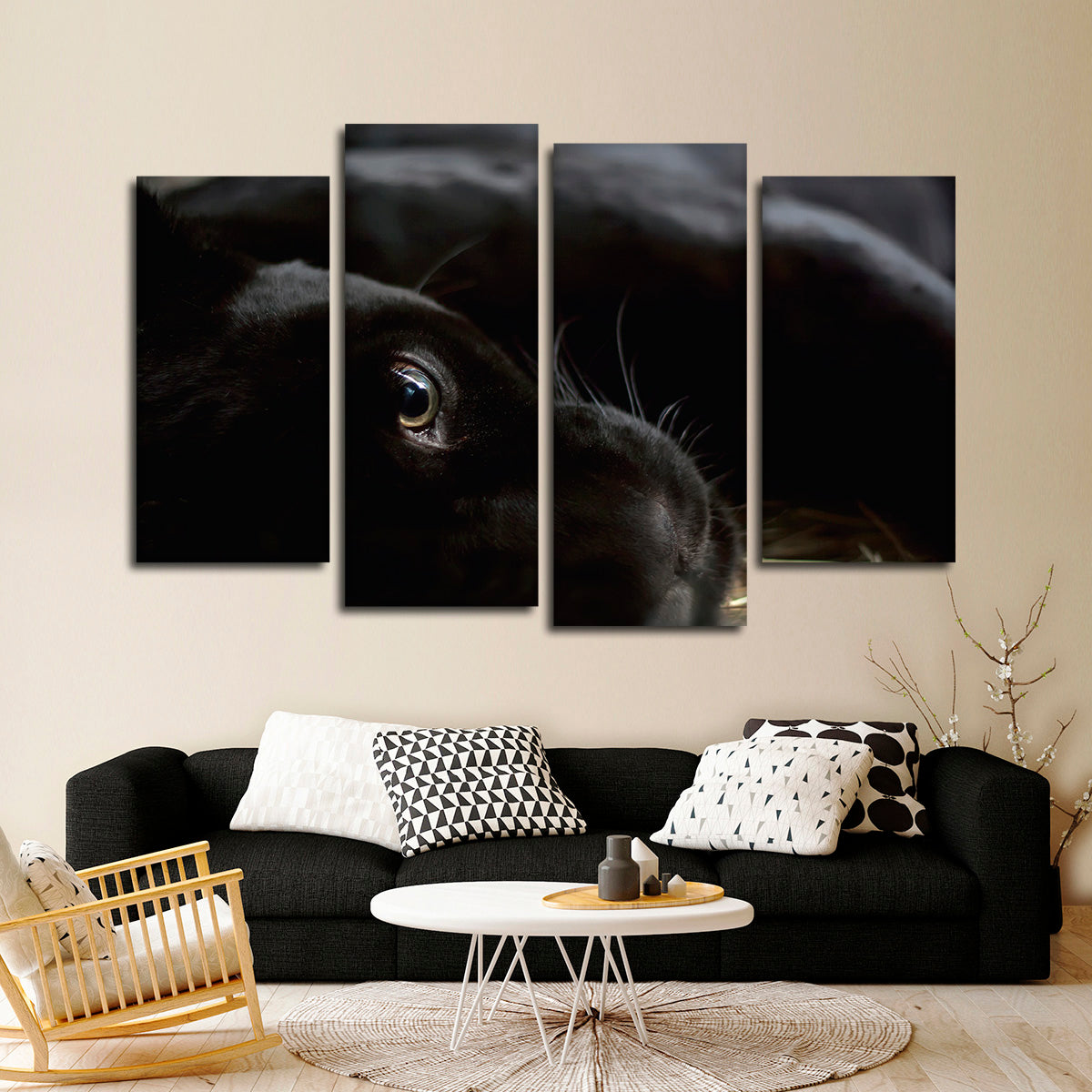 Black panther multi panel canvas wall art