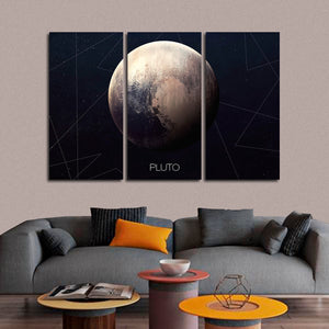 Pluto Multi Panel Canvas Wall Art - Astronomy