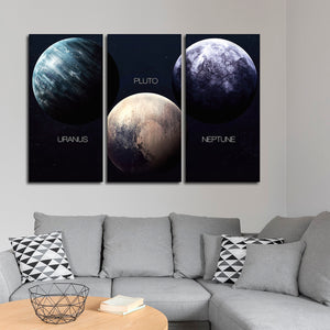 Planet Trio Multi Panel Canvas Wall Art - Astronomy