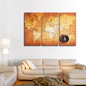 Brass Compass Map Multi Panel Canvas Wall Art - World_map