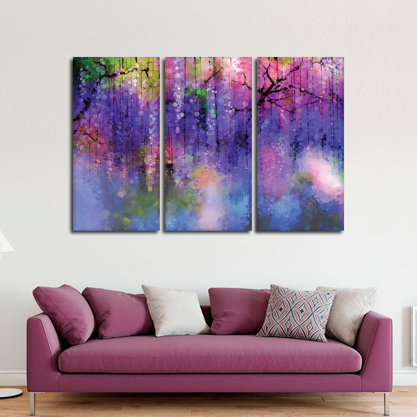 Abstract Wisteria Multi Panel Canvas Wall Art
