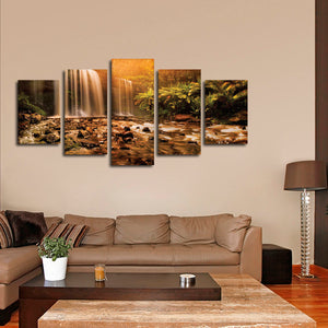 Russell Falls Multi Panel Canvas Wall Art - Nature