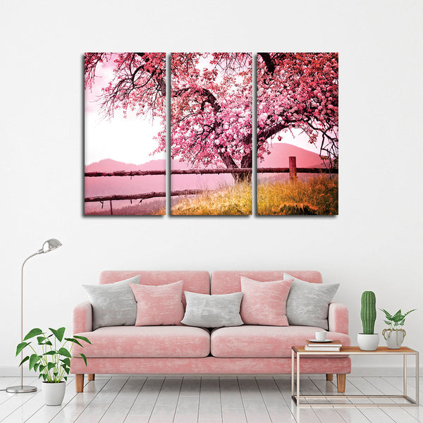 Blossoming Tree Multi Panel Canvas Wall Art