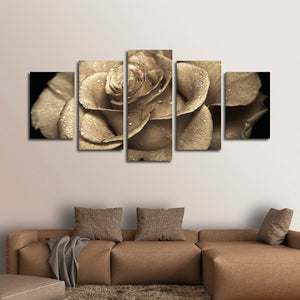 Retro Rose Multi Panel Canvas Wall Art - Rose