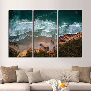 Coastal Waves Multi Panel Canvas Wall Art - Aerial