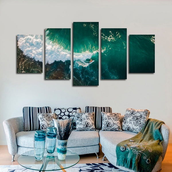Aerial Surfing Multi Panel Canvas Wall Art