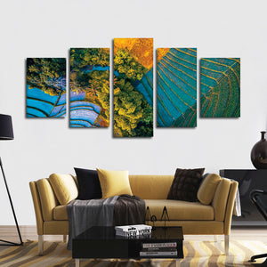 Bali Rice Farm Multi Panel Canvas Wall Art - Aerial