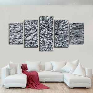 Snowy Pine Forest Multi Panel Canvas Wall Art - Aerial