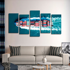 Container Ship Multi Panel Canvas Wall Art - Aerial