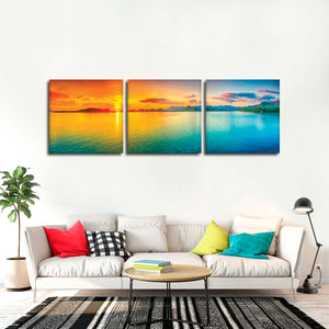 Panorama Sunset Multi Panel Canvas Wall Art - Beach