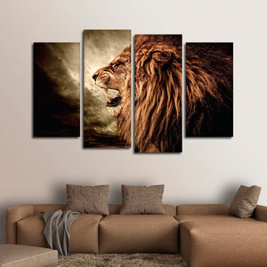 Angry Lion Roar Multi Panel Canvas Wall Art - Lion
