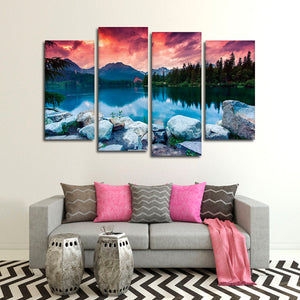 European Lake Sunset Multi Panel Canvas Wall Art - Nature