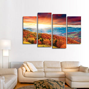 Sunrise In Autumn Multi Panel Canvas Wall Art - Nature