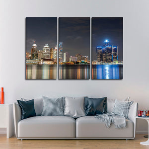 Detroit Skyline Multi Panel Canvas Wall Art - City