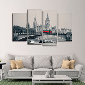 London Red Bus Pop Multi Panel Canvas Wall Art - United_kingdom