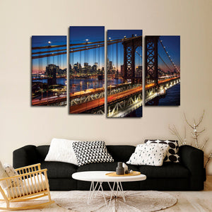 Historic Brooklyn Bridge Multi Panel Canvas Wall Art - Bridge