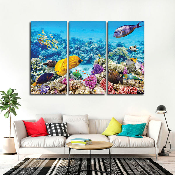 Aquatic Life Multi Panel Canvas Wall Art