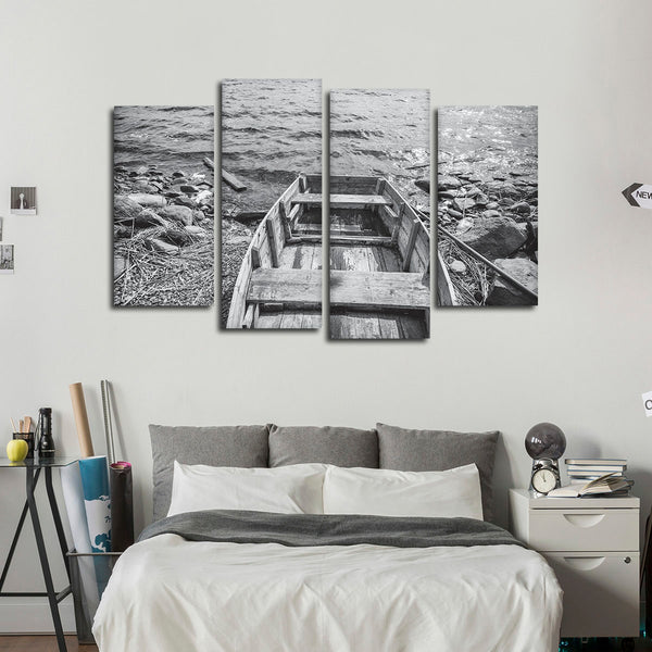 Old Wooden Boat Multi Panel Canvas Wall Art