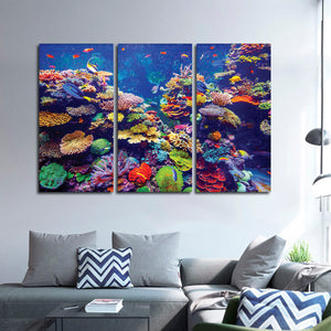 Colorful Coral Reef Multi Panel Canvas Wall Art - Underwater