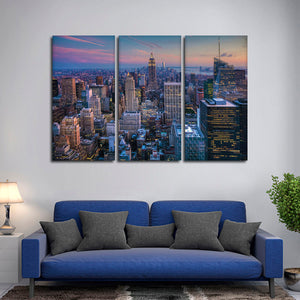 Manhattan Twilight Multi Panel Canvas Wall Art - City