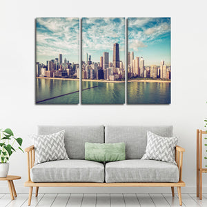 Chicago Skyscrapers Multi Panel Canvas Wall Art - City