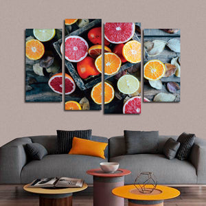 Healthy Citrus Fruits Multi Panel Canvas Wall Art - Kitchen