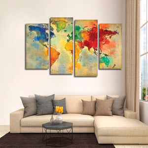 World Travel Map Multi Panel Canvas Wall Art - World_map