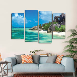 Seychelles Paradise Multi Panel Canvas Wall Art - Beach