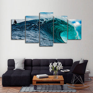 Big Wave Surfing Multi Panel Canvas Wall Art - Surfing