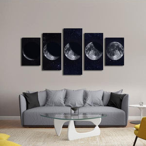 Moon Phases Multi Panel Canvas Wall Art - Astronomy