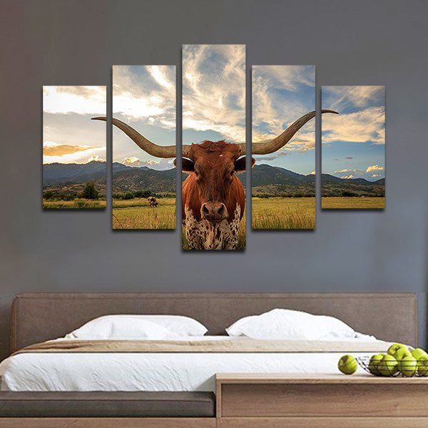 Longhorn Multi Panel Canvas Wall Art Elephantstock