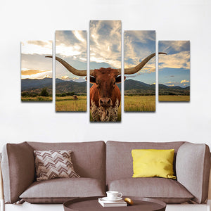 Longhorn Multi Panel Canvas Wall Art   Texas