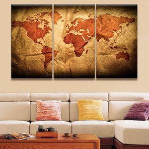 Wrinkled World Map Multi Panel Canvas Wall Art