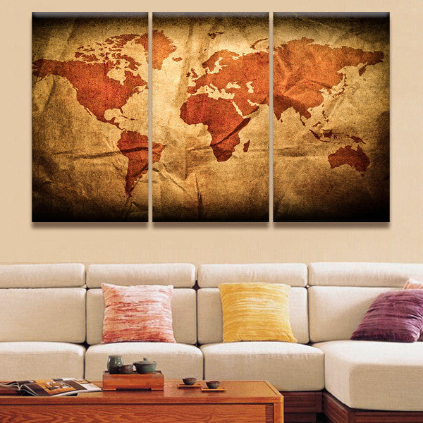Wrinkled world map multi panel canvas wall art elephantstock wrinkled world map multi panel canvas wall art gumiabroncs Choice Image