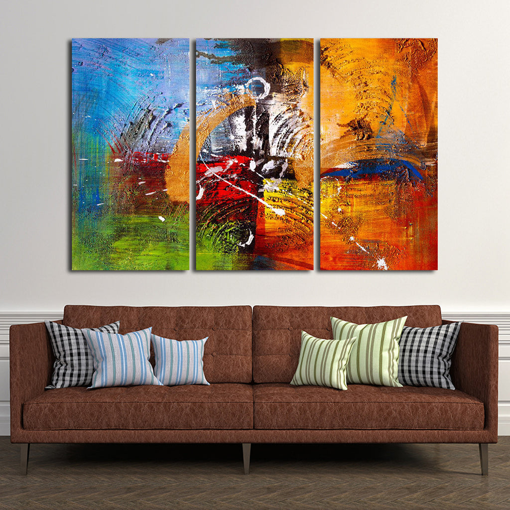Abstract Oil Painting Multi Panel Canvas Wall Art ...