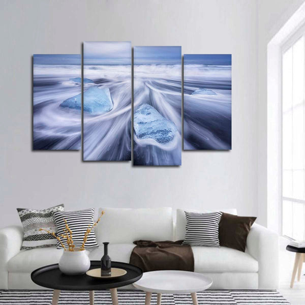 Blue Ice Waves Multi Panel Canvas Wall Art
